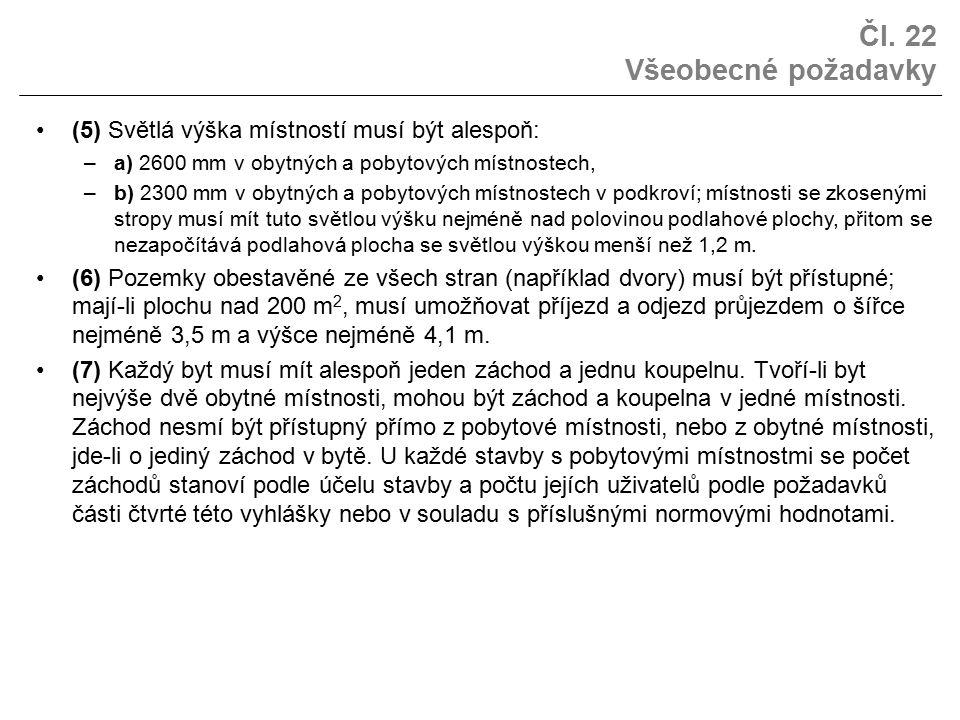 Čl. 22 Všeobecné požadavky (5) Světlá výška místností musí být alespoň: –a) 2600 mm v obytných a pobytových místnostech, –b) 2300 mm v obytných a poby