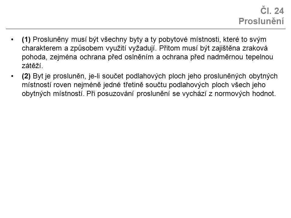 Čl. 24 Proslunění (1) Prosluněny musí být všechny byty a ty pobytové místnosti, které to svým charakterem a způsobem využití vyžadují. Přitom musí být