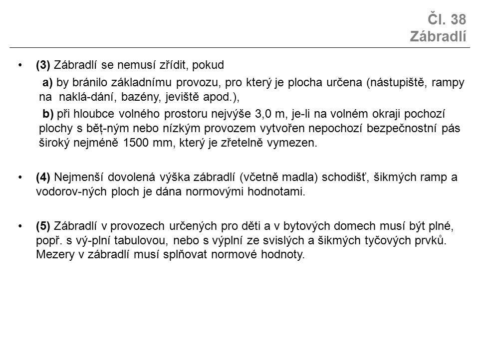 Čl. 38 Zábradlí (3) Zábradlí se nemusí zřídit, pokud a) by bránilo základnímu provozu, pro který je plocha určena (nástupiště, rampy na naklá-dání, ba