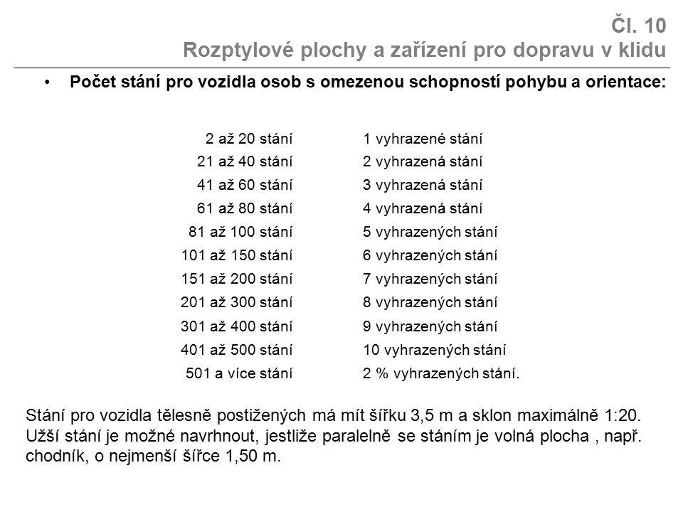 Čl. 10 Rozptylové plochy a zařízení pro dopravu v klidu Počet stání pro vozidla osob s omezenou schopností pohybu a orientace: 2 až 20 stání1 vyhrazen