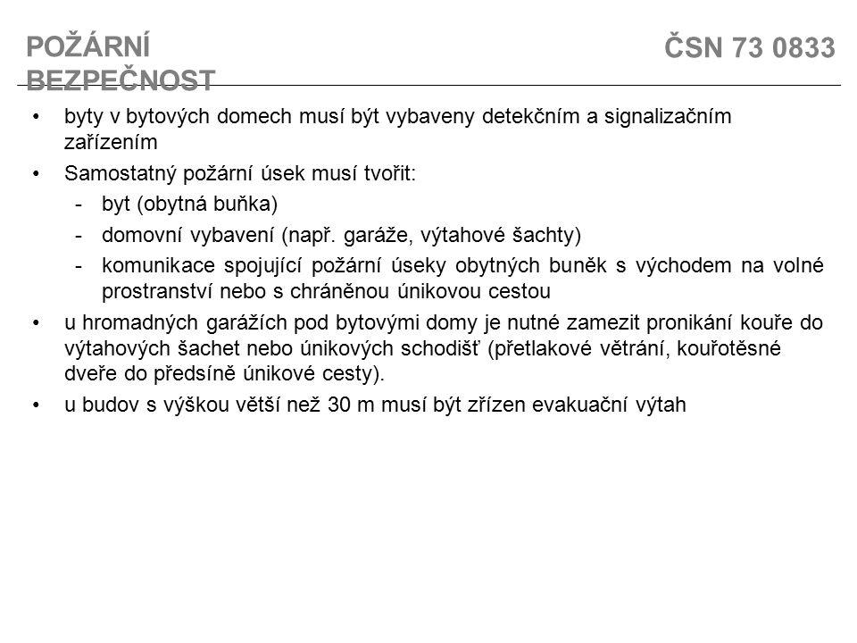 ČSN 73 0833 byty v bytových domech musí být vybaveny detekčním a signalizačním zařízením Samostatný požární úsek musí tvořit: -byt (obytná buňka) -dom