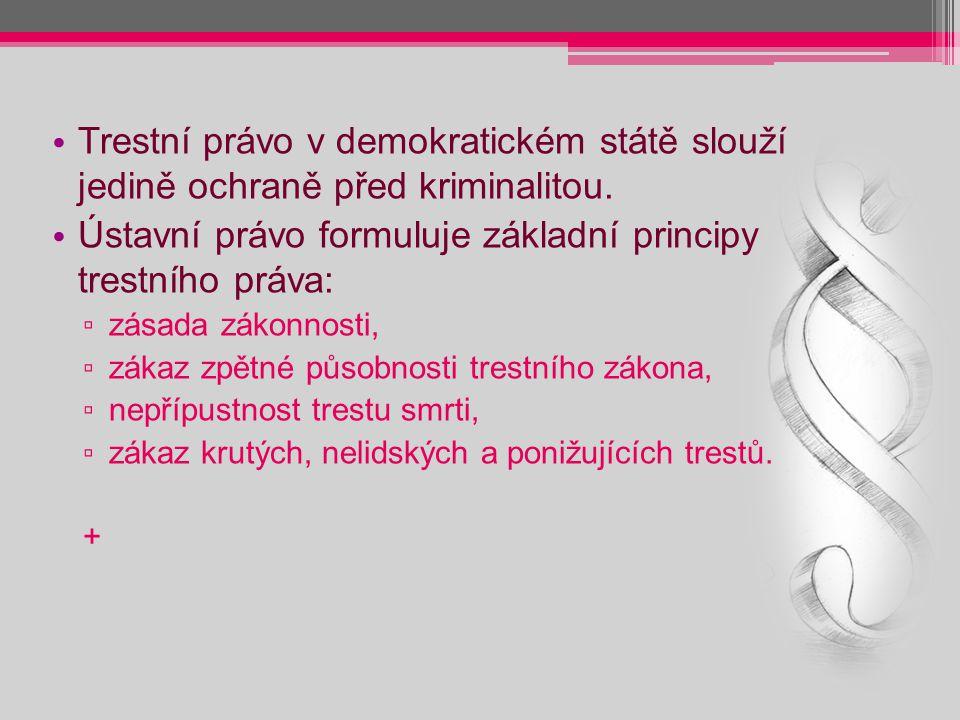 Trestní právo v demokratickém státě slouží jedině ochraně před kriminalitou. Ústavní právo formuluje základní principy trestního práva: ▫ zásada zákon