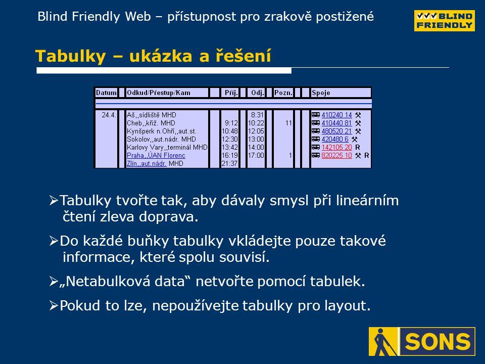 Blind Friendly Web – přístupnost pro zrakově postižené Tabulky – ukázka a řešení  Tabulky tvořte tak, aby dávaly smysl při lineárním čtení zleva doprava.