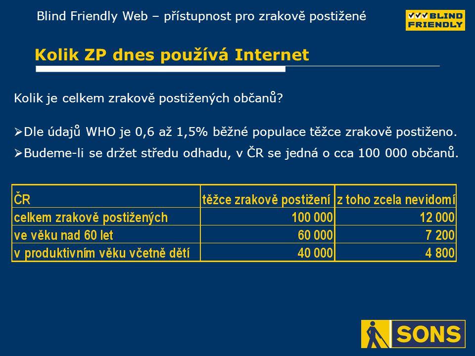 Blind Friendly Web – přístupnost pro zrakově postižené Kolik ZP dnes používá Internet Kolik je celkem zrakově postižených občanů.