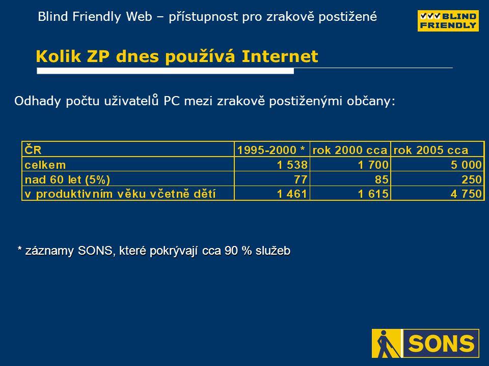 Blind Friendly Web – přístupnost pro zrakově postižené Kolik ZP dnes používá Internet Odhady počtu uživatelů PC mezi zrakově postiženými občany: * záznamy SONS, které pokrývají cca 90 % služeb