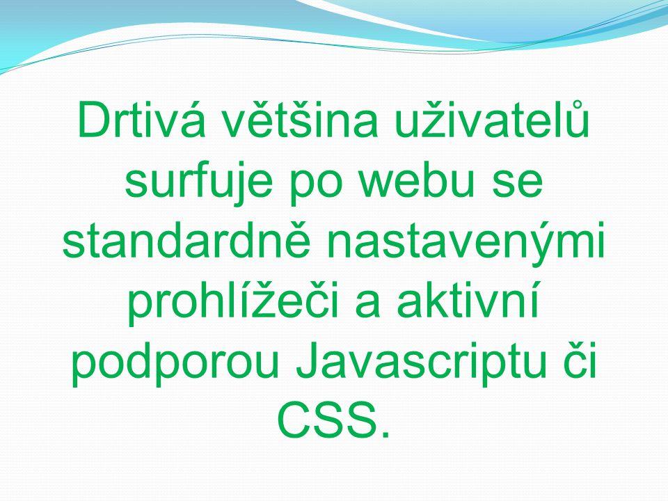 Drtivá většina uživatelů surfuje po webu se standardně nastavenými prohlížeči a aktivní podporou Javascriptu či CSS.