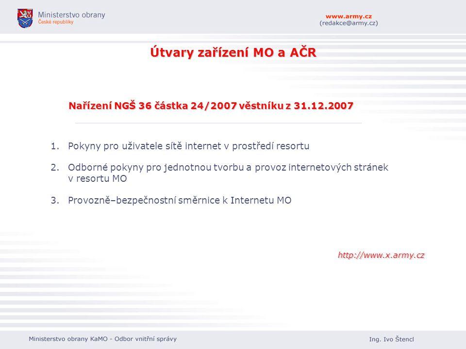 Útvary zařízení MO a AČR Nařízení NGŠ 36 částka 24/2007 věstníku z 31.12.2007 1. 1.Pokyny pro uživatele sítě internet v prostředí resortu 2. 2.Odborné