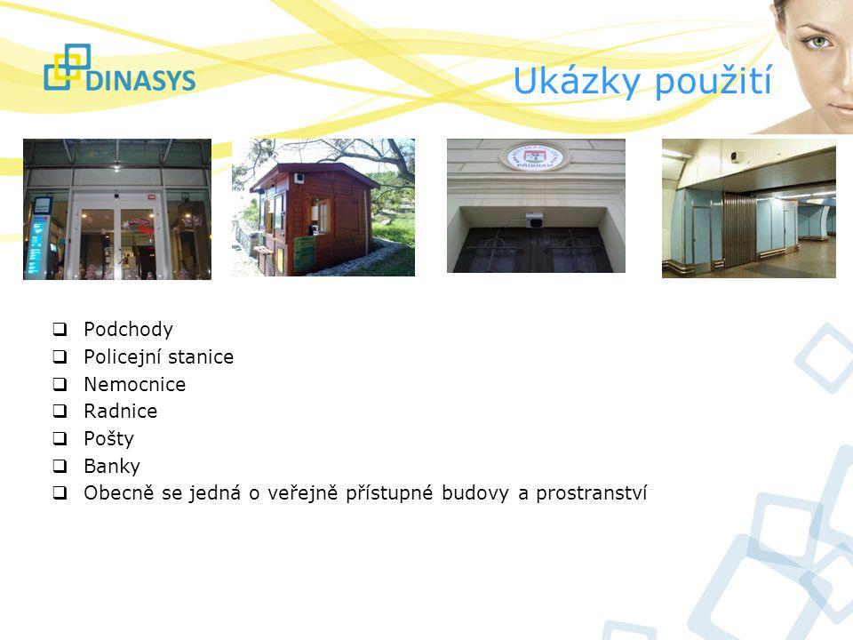 Ukázky použití  Podchody  Policejní stanice  Nemocnice  Radnice  Pošty  Banky  Obecně se jedná o veřejně přístupné budovy a prostranství