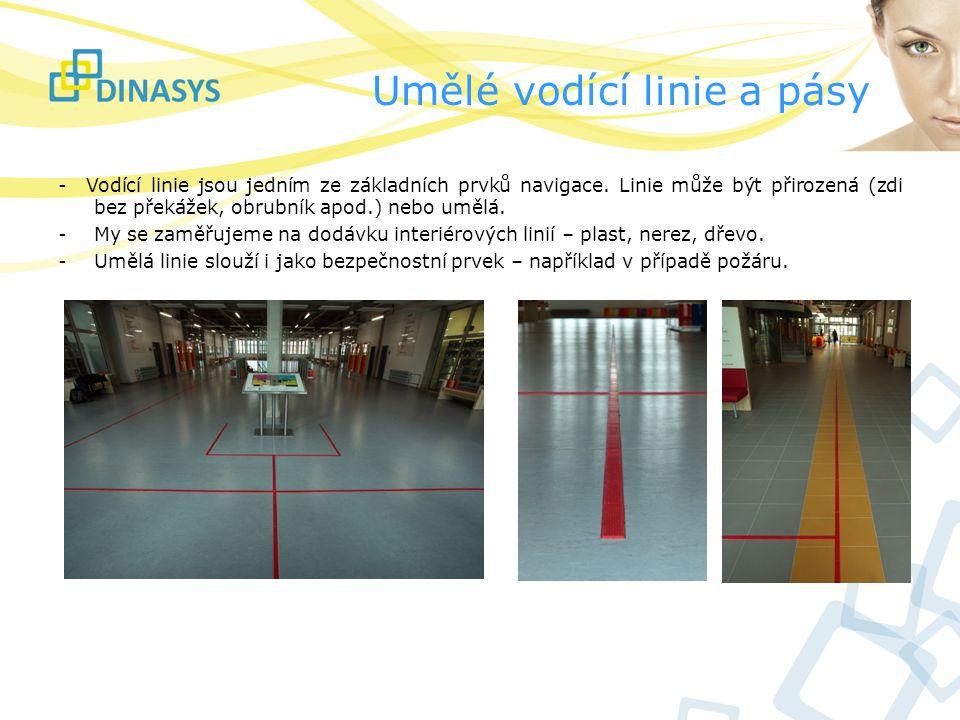 Umělé vodící linie a pásy - Vodící linie jsou jedním ze základních prvků navigace. Linie může být přirozená (zdi bez překážek, obrubník apod.) nebo um