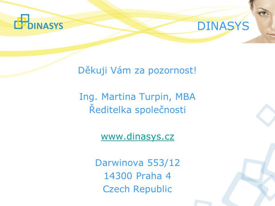 DINASYS Děkuji Vám za pozornost! Ing. Martina Turpin, MBA Ředitelka společnosti www.dinasys.cz Darwinova 553/12 14300 Praha 4 Czech Republic