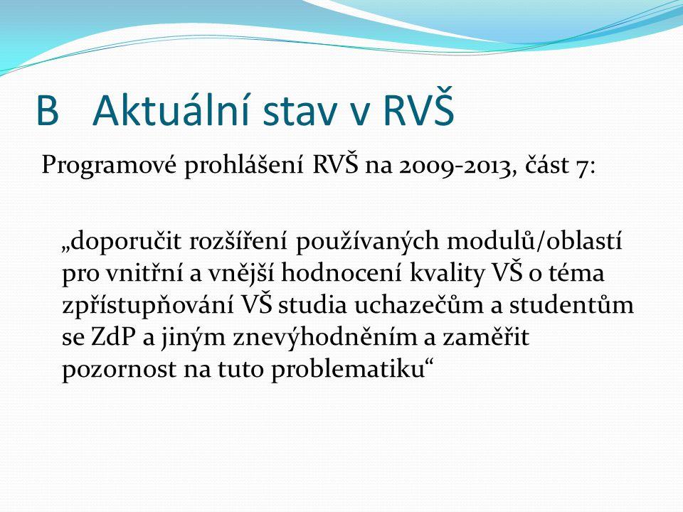 """B Aktuální stav v RVŠ Programové prohlášení RVŠ na 2009-2013, část 7: """"doporučit rozšíření používaných modulů/oblastí pro vnitřní a vnější hodnocení kvality VŠ o téma zpřístupňování VŠ studia uchazečům a studentům se ZdP a jiným znevýhodněním a zaměřit pozornost na tuto problematiku"""