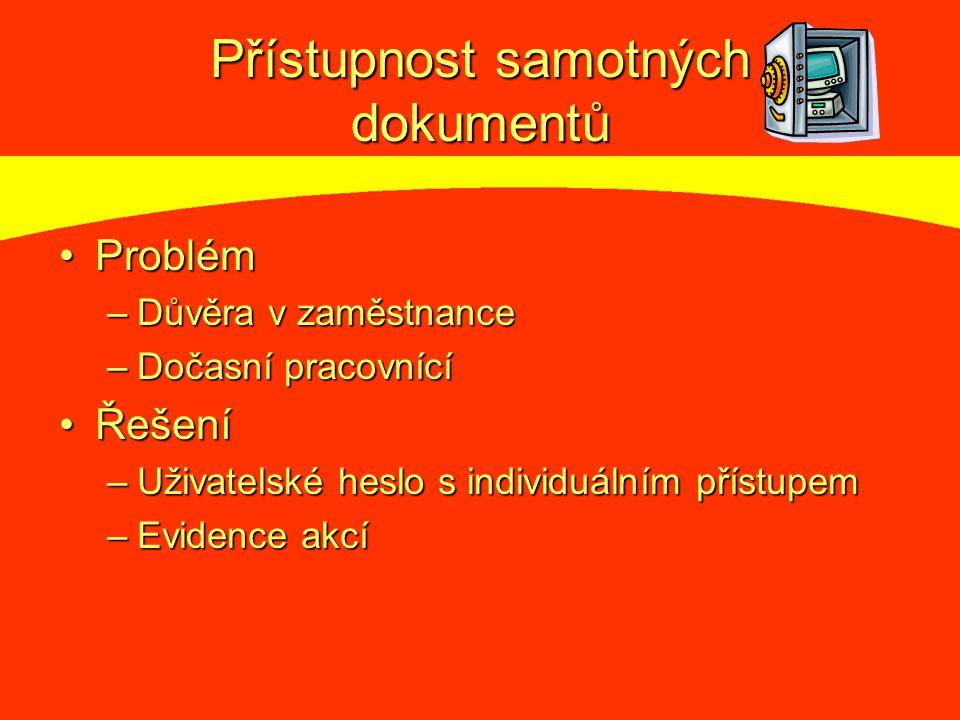 Přístupnost samotných dokumentů ProblémProblém –Důvěra v zaměstnance –Dočasní pracovnící ŘešeníŘešení –Uživatelské heslo s individuálním přístupem –Evidence akcí