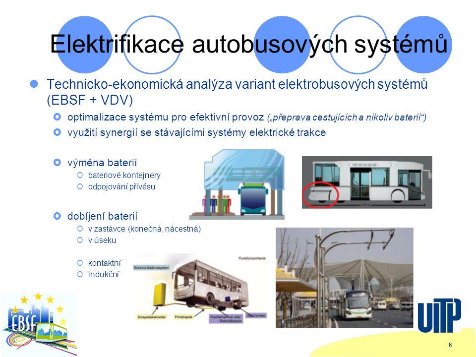 """6 Elektrifikace autobusových systémů Technicko-ekonomická analýza variant elektrobusových systémů (EBSF + VDV)  optimalizace systému pro efektivní provoz (""""přeprava cestujících a nikoliv baterií )  využití synergií se stávajícími systémy elektrické trakce  výměna baterií  bateriové kontejnery  odpojování přívěsu  dobíjení baterií  v zastávce (konečná, nácestná)  v úseku  kontaktní  indukční"""
