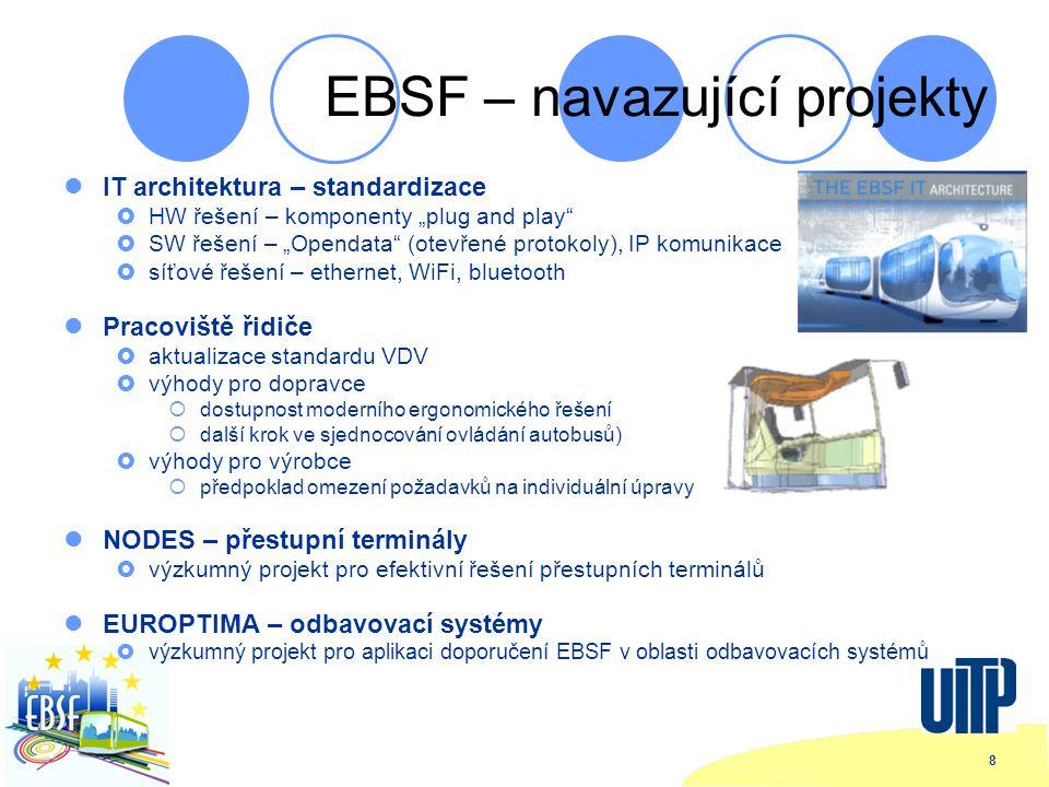 """8 EBSF – navazující projekty IT architektura – standardizace  HW řešení – komponenty """"plug and play  SW řešení – """"Opendata (otevřené protokoly), IP komunikace  síťové řešení – ethernet, WiFi, bluetooth Pracoviště řidiče  aktualizace standardu VDV  výhody pro dopravce  dostupnost moderního ergonomického řešení  další krok ve sjednocování ovládání autobusů)  výhody pro výrobce  předpoklad omezení požadavků na individuální úpravy NODES – přestupní terminály  výzkumný projekt pro efektivní řešení přestupních terminálů EUROPTIMA – odbavovací systémy  výzkumný projekt pro aplikaci doporučení EBSF v oblasti odbavovacích systémů"""