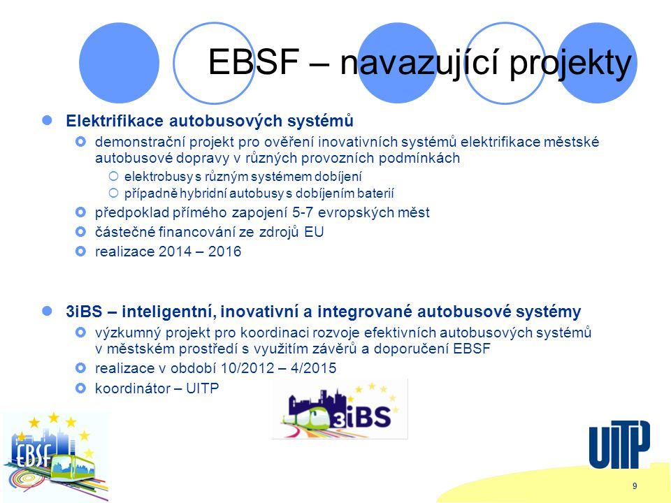 9 EBSF – navazující projekty Elektrifikace autobusových systémů  demonstrační projekt pro ověření inovativních systémů elektrifikace městské autobusové dopravy v různých provozních podmínkách  elektrobusy s různým systémem dobíjení  případně hybridní autobusy s dobíjením baterií  předpoklad přímého zapojení 5-7 evropských měst  částečné financování ze zdrojů EU  realizace 2014 – 2016 3iBS – inteligentní, inovativní a integrované autobusové systémy  výzkumný projekt pro koordinaci rozvoje efektivních autobusových systémů v městském prostředí s využitím závěrů a doporučení EBSF  realizace v období 10/2012 – 4/2015  koordinátor – UITP