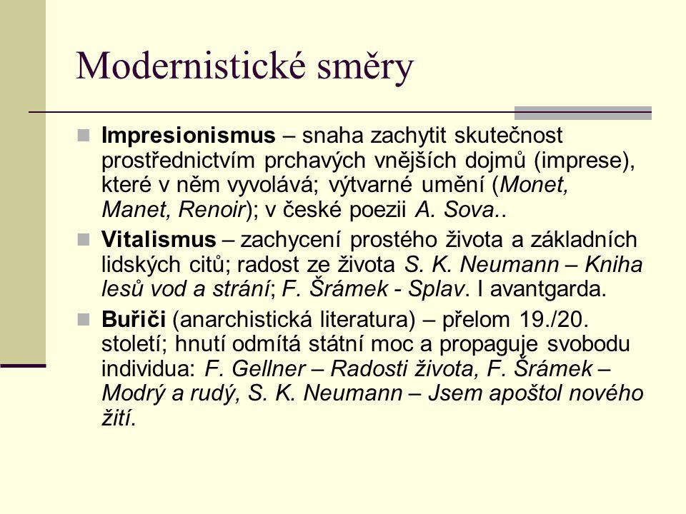 Modernistické směry Impresionismus – snaha zachytit skutečnost prostřednictvím prchavých vnějších dojmů (imprese), které v něm vyvolává; výtvarné uměn