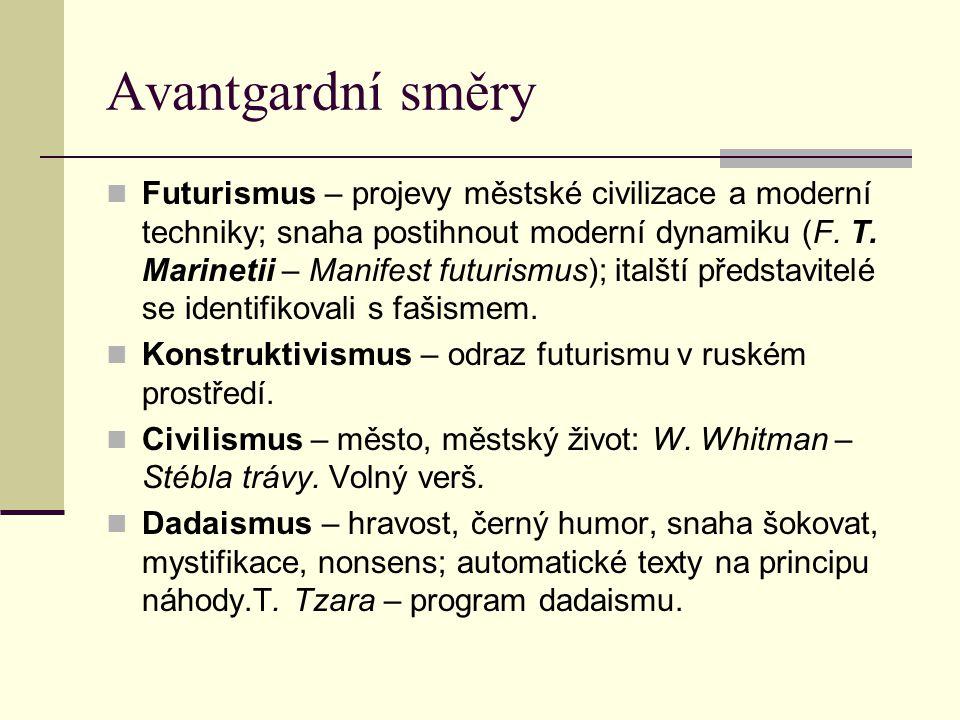 Avantgardní směry Futurismus – projevy městské civilizace a moderní techniky; snaha postihnout moderní dynamiku (F. T. Marinetii – Manifest futurismus