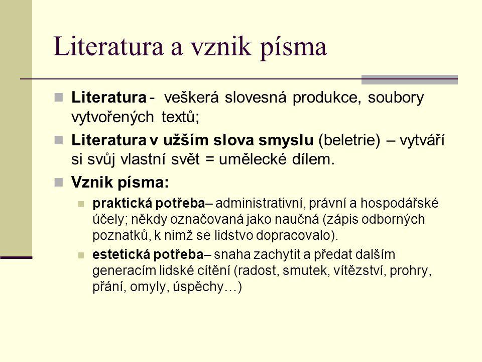 Literatura a vznik písma Literatura - veškerá slovesná produkce, soubory vytvořených textů; Literatura v užším slova smyslu (beletrie) – vytváří si sv