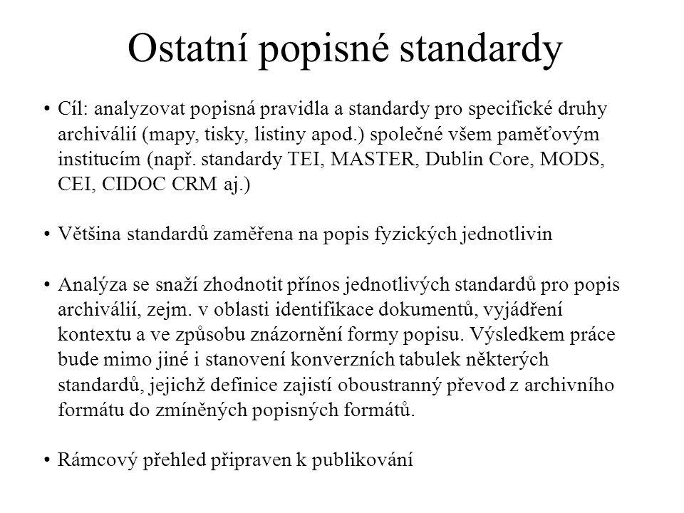 Ostatní popisné standardy Cíl: analyzovat popisná pravidla a standardy pro specifické druhy archiválií (mapy, tisky, listiny apod.) společné všem pamě