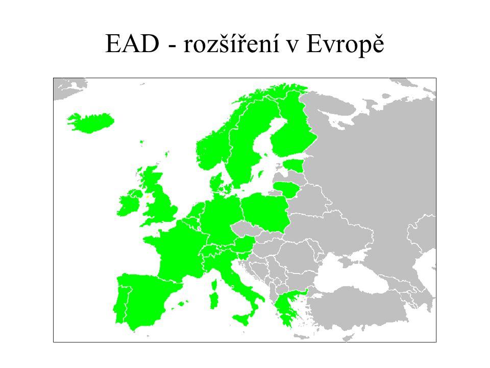 EAD - rozšíření v Evropě