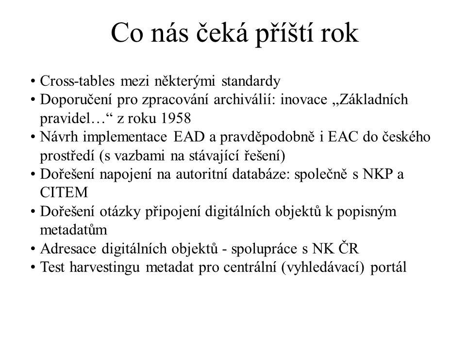 """Co nás čeká příští rok Cross-tables mezi některými standardy Doporučení pro zpracování archiválií: inovace """"Základních pravidel…"""" z roku 1958 Návrh im"""