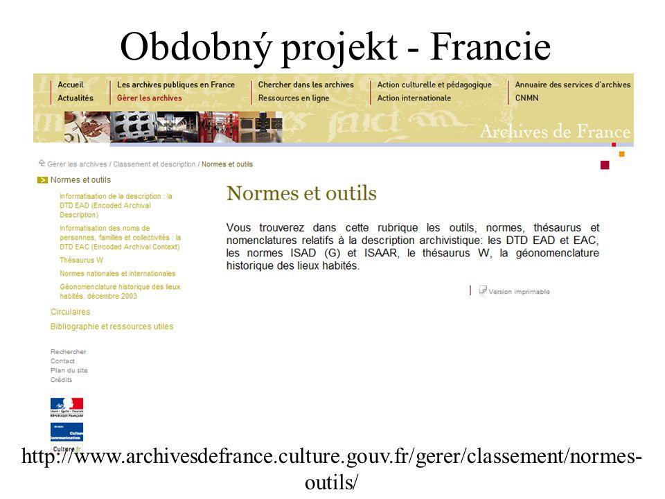 http://www.archivesdefrance.culture.gouv.fr/gerer/classement/normes- outils/ Obdobný projekt - Francie