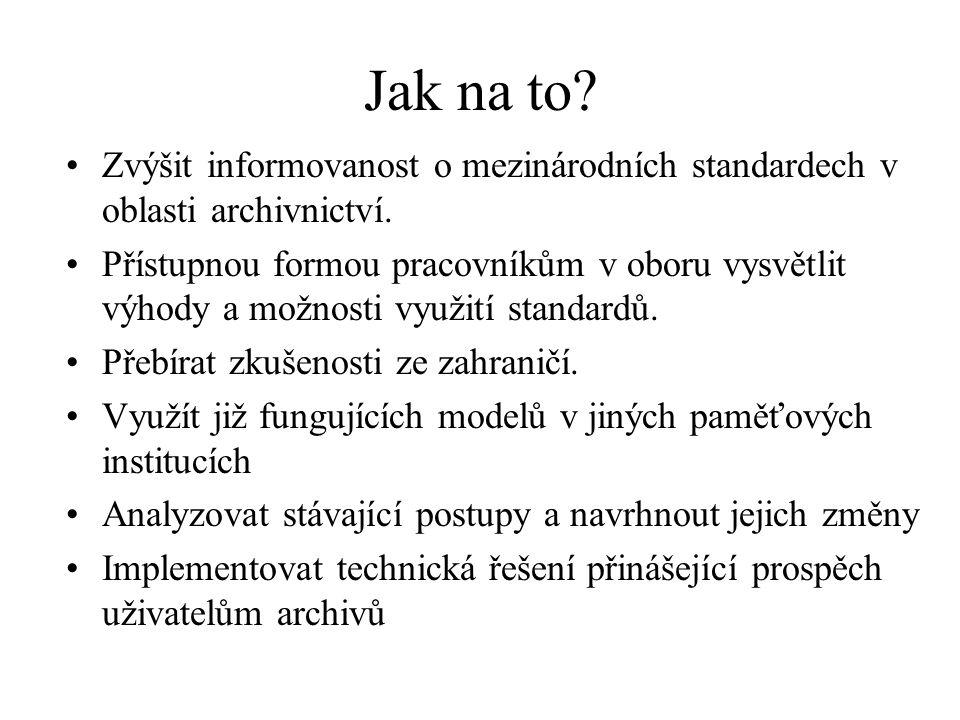 Jak na to? Zvýšit informovanost o mezinárodních standardech v oblasti archivnictví. Přístupnou formou pracovníkům v oboru vysvětlit výhody a možnosti