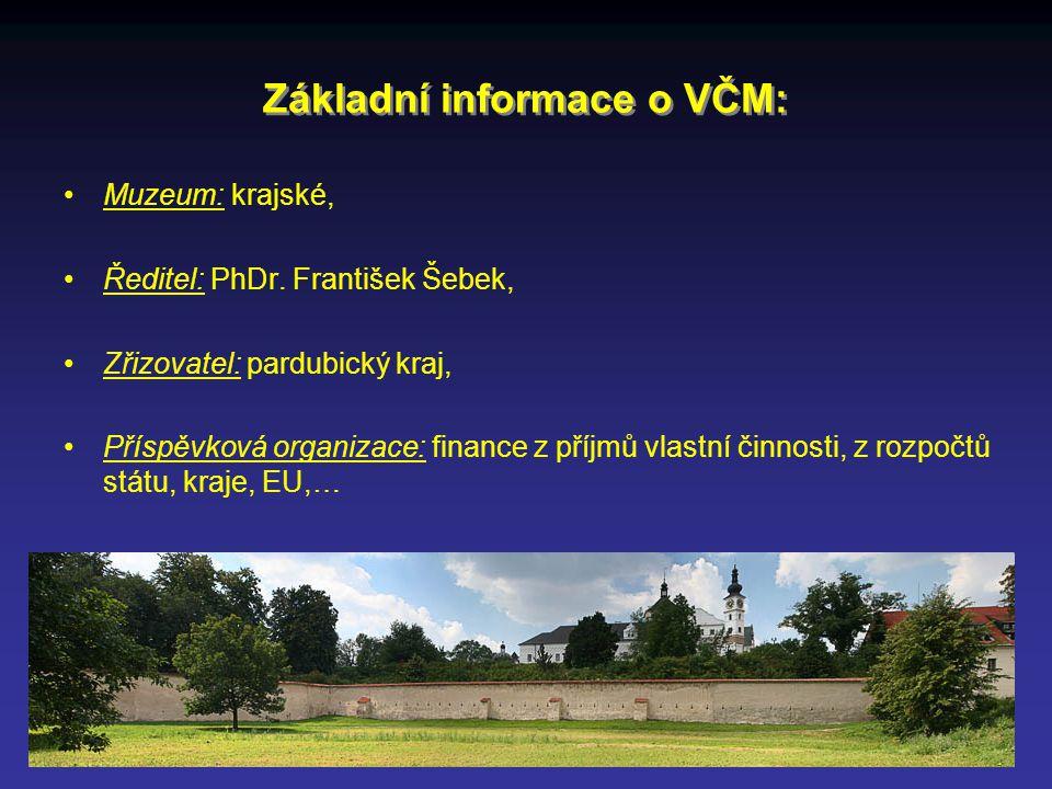 Základní informace o VČM: Muzeum: krajské, Ředitel: PhDr.