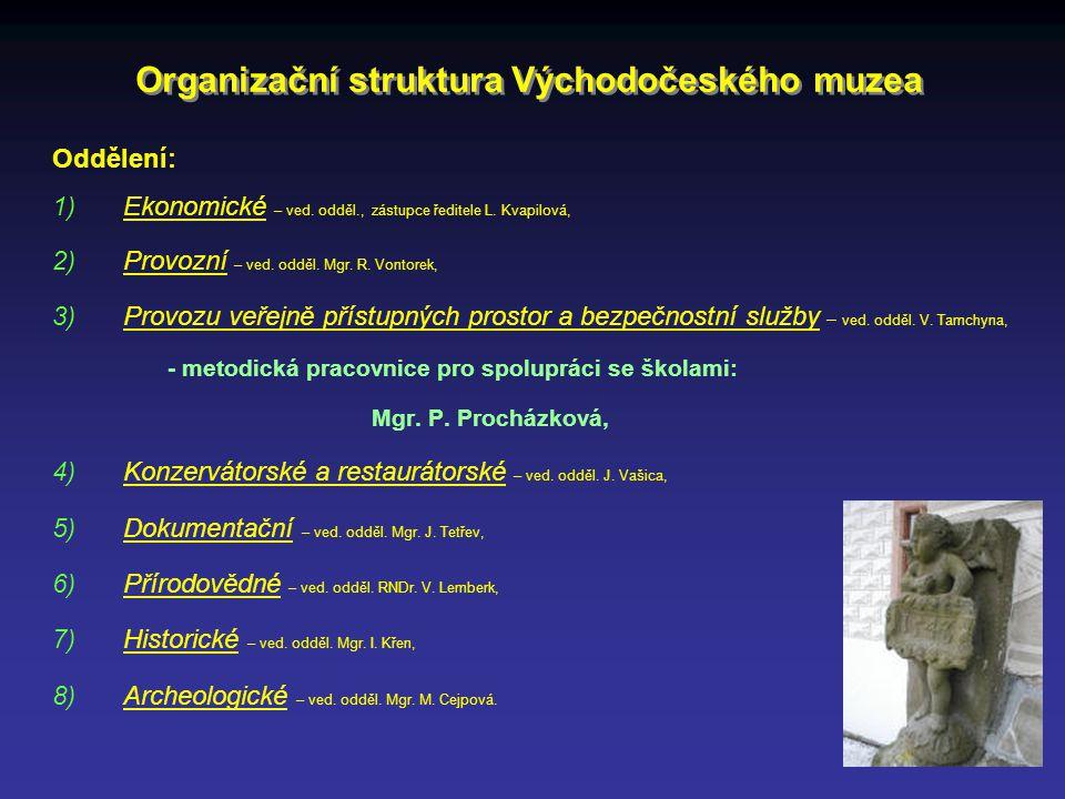Oddělení: 1)Ekonomické – ved. odděl., zástupce ředitele L. Kvapilová, 2)Provozní – ved. odděl. Mgr. R. Vontorek, 3)Provozu veřejně přístupných prostor