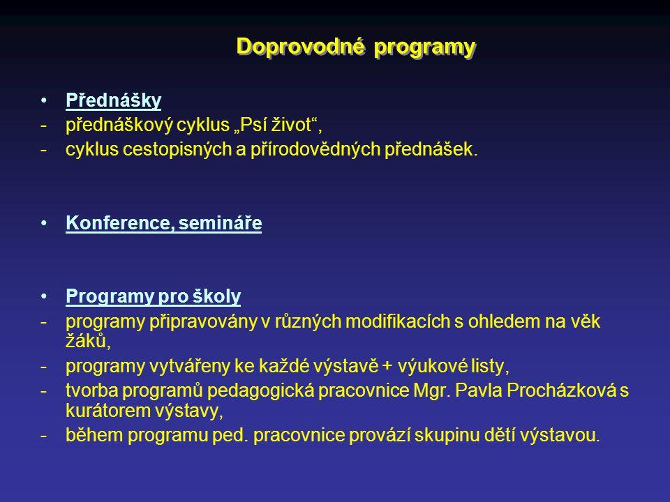 """Doprovodné programy Přednášky - přednáškový cyklus """"Psí život"""", - cyklus cestopisných a přírodovědných přednášek. Konference, semináře Programy pro šk"""