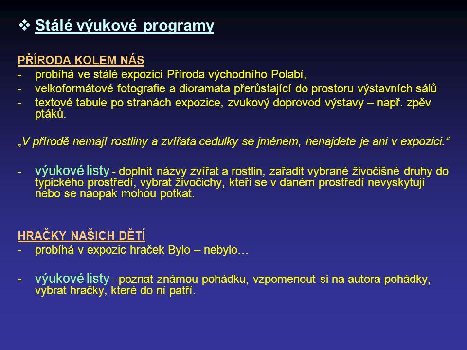  Stálé výukové programy PŘÍRODA KOLEM NÁS -probíhá ve stálé expozici Příroda východního Polabí, -velkoformátové fotografie a dioramata přerůstající d
