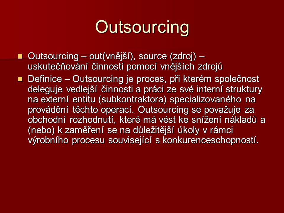 Outsourcing Outsourcing – out(vnější), source (zdroj) – uskutečňování činností pomocí vnějších zdrojů Outsourcing – out(vnější), source (zdroj) – usku