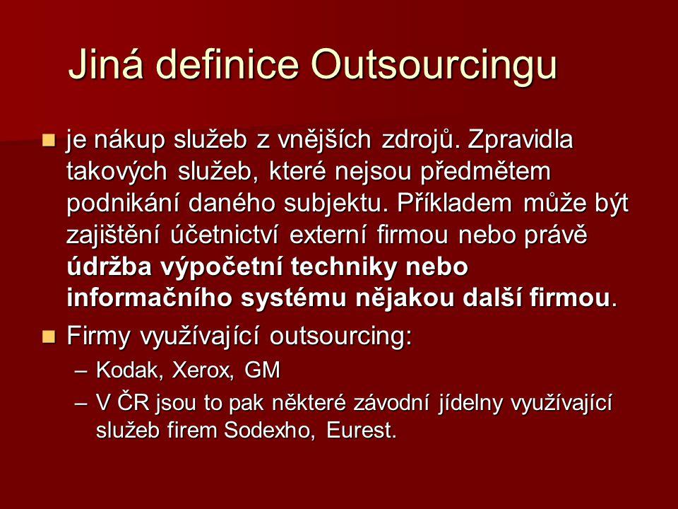 Jiná definice Outsourcingu je nákup služeb z vnějších zdrojů. Zpravidla takových služeb, které nejsou předmětem podnikání daného subjektu. Příkladem m