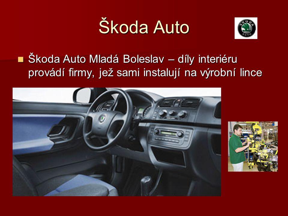 Škoda Auto Škoda Auto Mladá Boleslav – díly interiéru provádí firmy, jež sami instalují na výrobní lince Škoda Auto Mladá Boleslav – díly interiéru pr