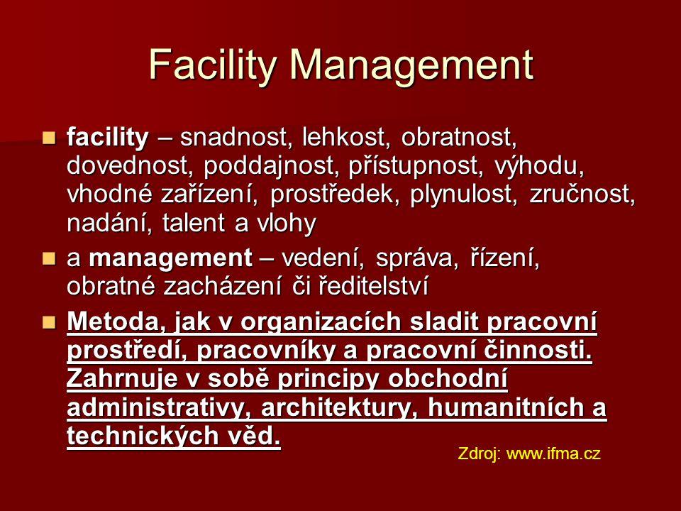 Facility Management facility – snadnost, lehkost, obratnost, dovednost, poddajnost, přístupnost, výhodu, vhodné zařízení, prostředek, plynulost, zručn
