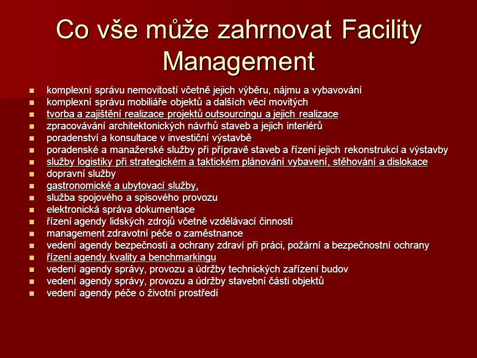 Co vše může zahrnovat Facility Management komplexní správu nemovitostí včetně jejich výběru, nájmu a vybavování komplexní správu nemovitostí včetně je