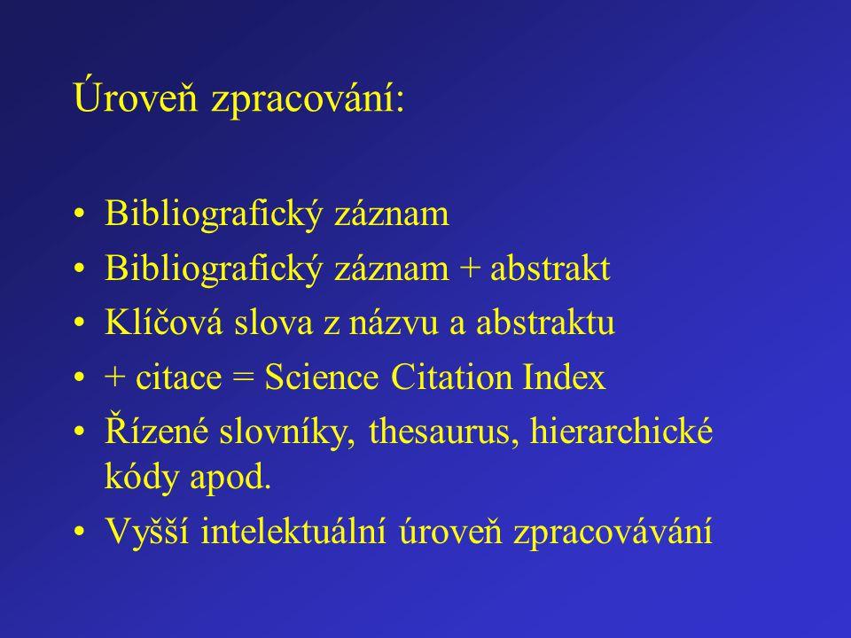 Úroveň zpracování: Bibliografický záznam Bibliografický záznam + abstrakt Klíčová slova z názvu a abstraktu + citace = Science Citation Index Řízené slovníky, thesaurus, hierarchické kódy apod.
