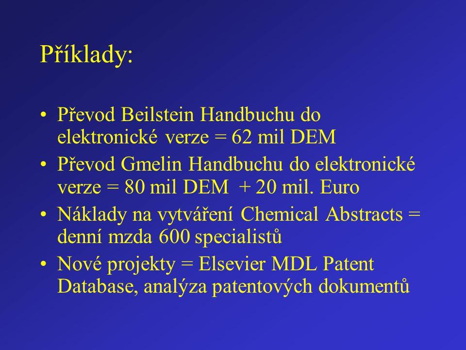 Příklady: Převod Beilstein Handbuchu do elektronické verze = 62 mil DEM Převod Gmelin Handbuchu do elektronické verze = 80 mil DEM + 20 mil. Euro Nákl