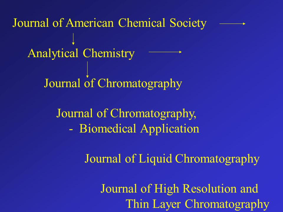 Journal of American Chemical Society Analytical Chemistry Journal of Chromatography Journal of Chromatography, - Biomedical Application Journal of Liq