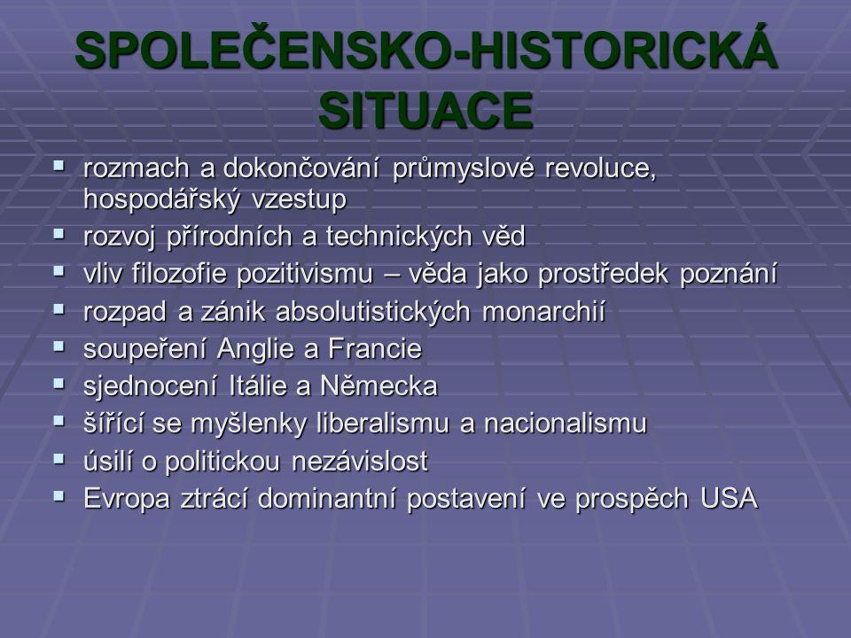 SPOLEČENSKO-HISTORICKÁ SITUACE rrrrozmach a dokončování průmyslové revoluce, hospodářský vzestup rrrrozvoj přírodních a technických věd vvv