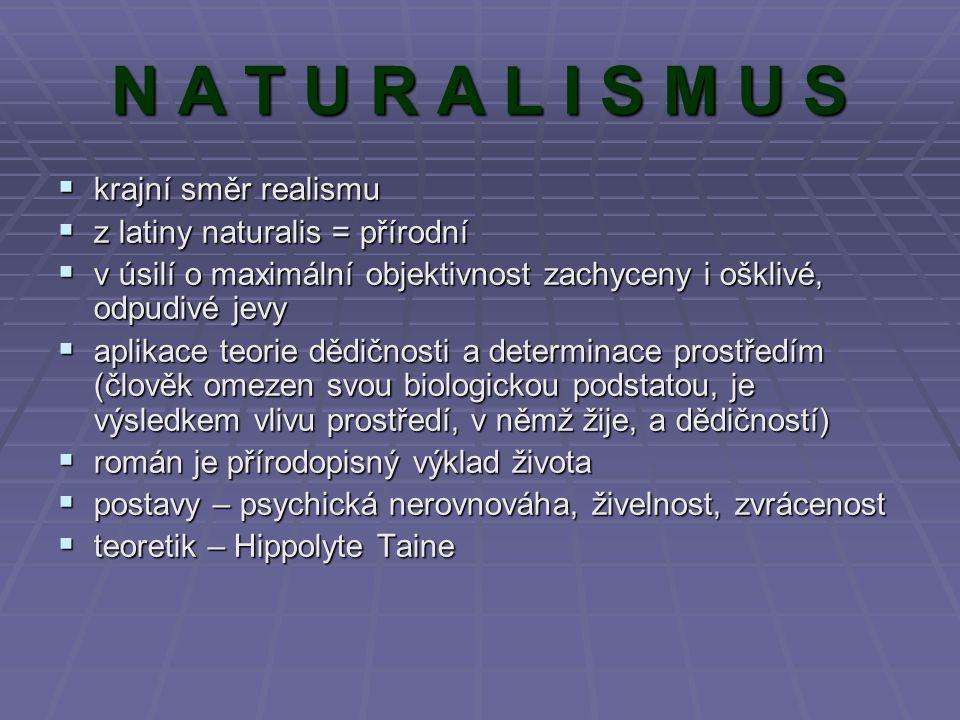N A T U R A L I S M U S kkkkrajní směr realismu zzzz latiny naturalis = přírodní vvvv úsilí o maximální objektivnost zachyceny i ošklivé,