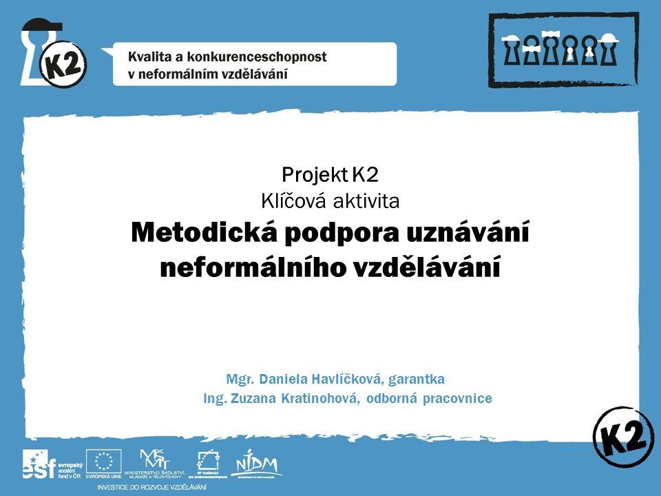 Projekt K2 Klíčová aktivita Metodická podpora uznávání neformálního vzdělávání Mgr.
