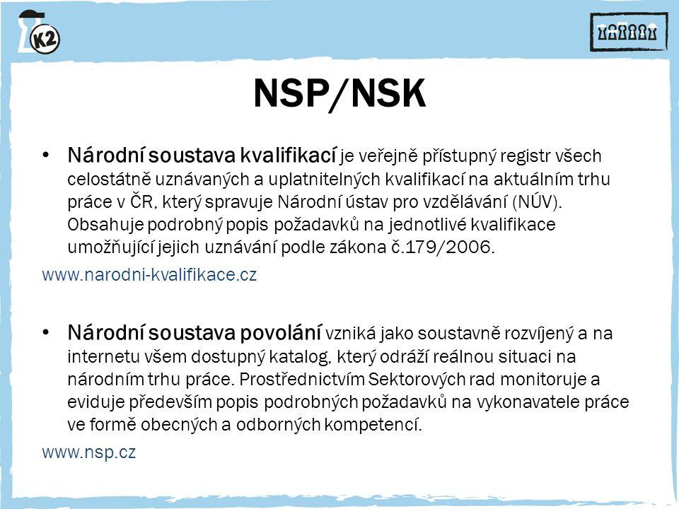 NSP/NSK Národní soustava kvalifikací je veřejně přístupný registr všech celostátně uznávaných a uplatnitelných kvalifikací na aktuálním trhu práce v ČR, který spravuje Národní ústav pro vzdělávání (NÚV).