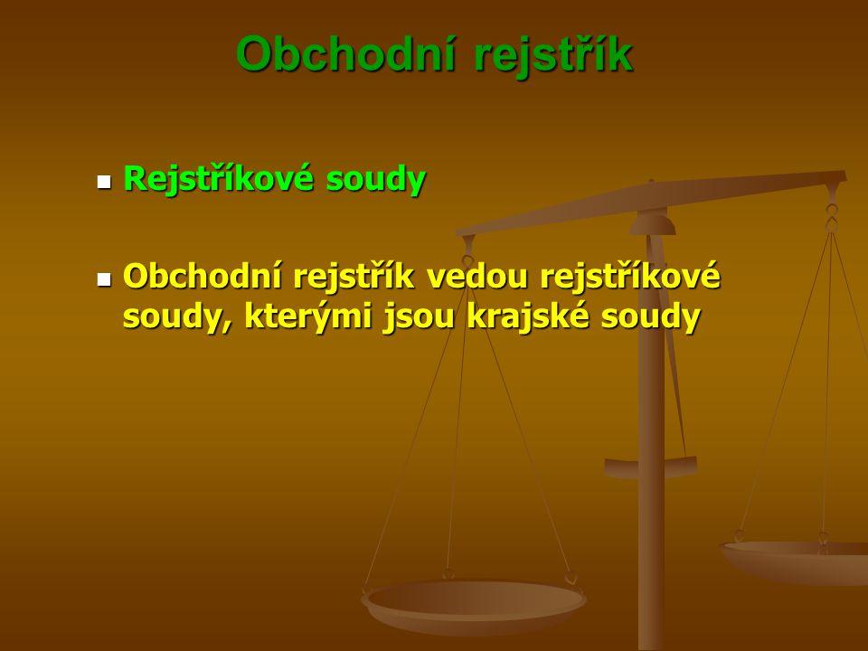 Obchodní rejstřík Příslušnost soudů Příslušnost soudů Pro podnikatele Pro podnikatele Krajský soud, v jehož obvodu je obecný soud fyzické osoby nebo právnické osoby, jíž se zápis do rejstříku týká Krajský soud, v jehož obvodu je obecný soud fyzické osoby nebo právnické osoby, jíž se zápis do rejstříku týká