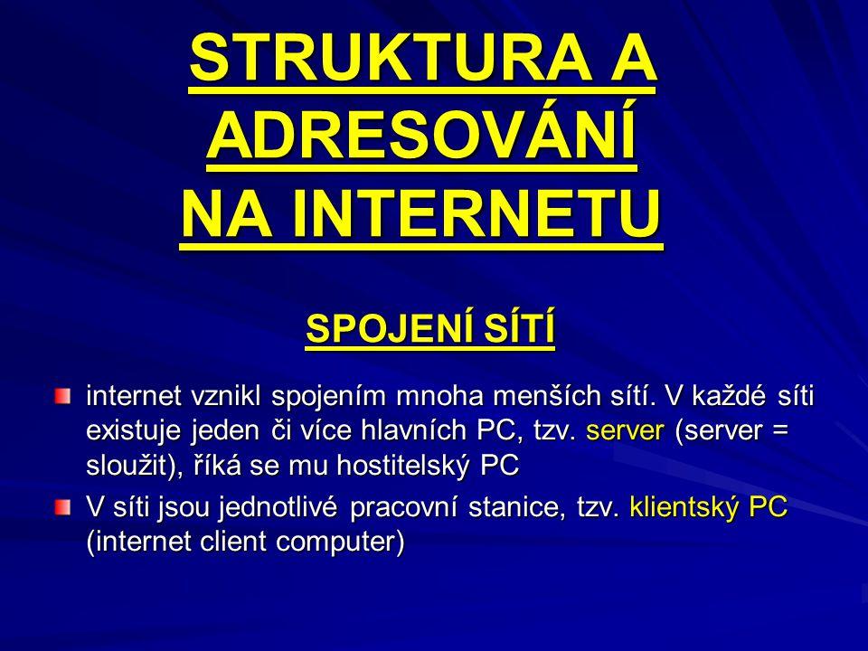 STRUKTURA A ADRESOVÁNÍ NA INTERNETU internet vznikl spojením mnoha menších sítí. V každé síti existuje jeden či více hlavních PC, tzv. server (server
