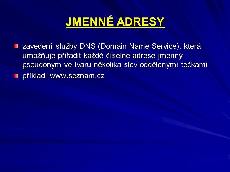 JMENNÉ ADRESY zavedení služby DNS (Domain Name Service), která umožňuje přiřadit každé číselné adrese jmenný pseudonym ve tvaru několika slov oddělený
