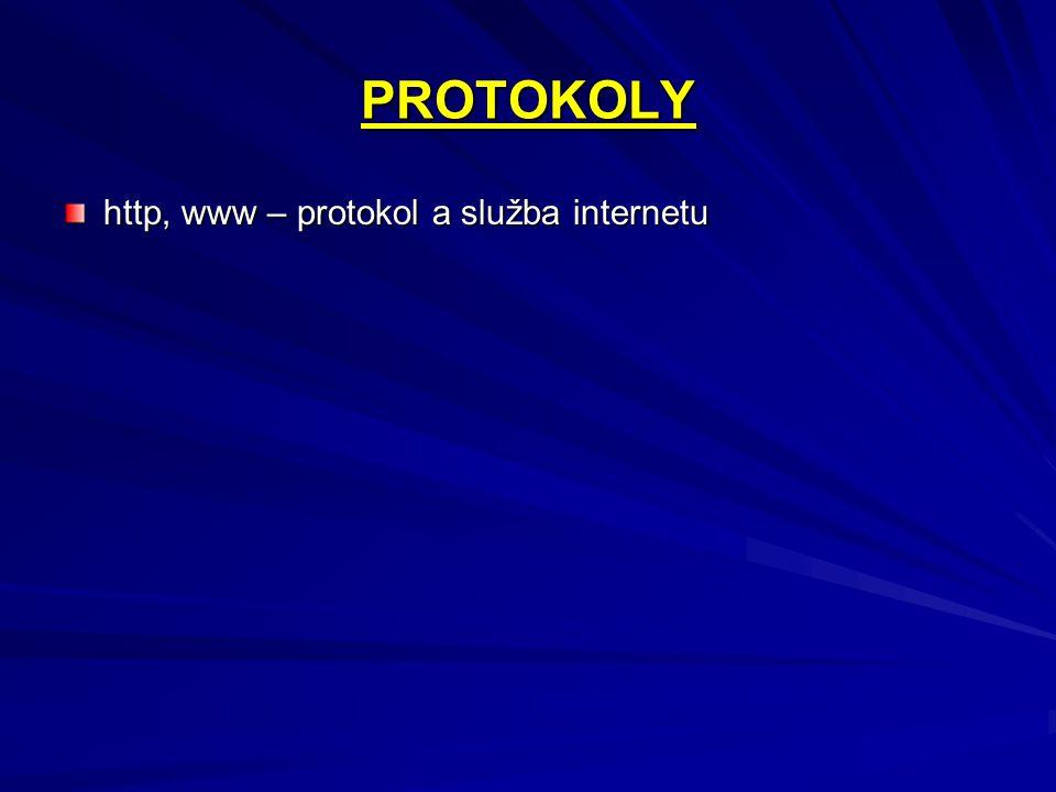 PROTOKOLY http, www – protokol a služba internetu