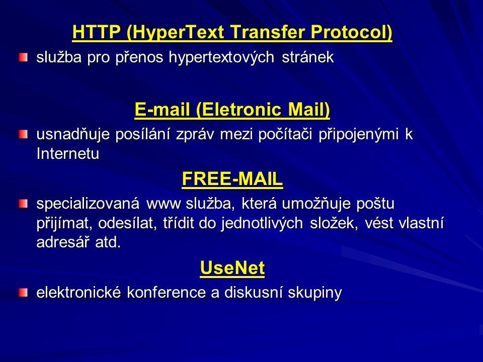 HTTP (HyperText Transfer Protocol) služba pro přenos hypertextových stránek E-mail (Eletronic Mail) usnadňuje posílání zpráv mezi počítači připojenými