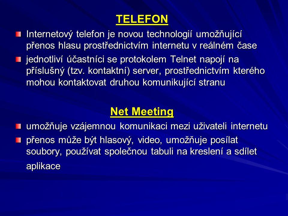 TELEFON Internetový telefon je novou technologií umožňující přenos hlasu prostřednictvím internetu v reálném čase jednotliví účastníci se protokolem T