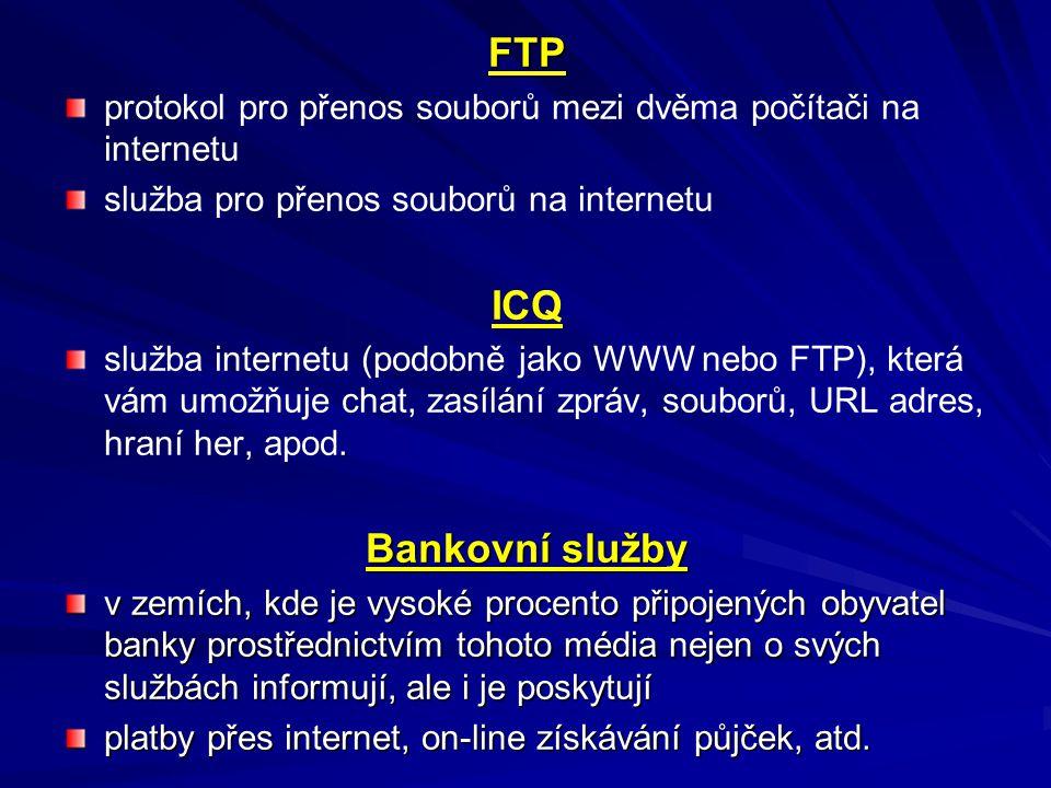 FTP protokol pro přenos souborů mezi dvěma počítači na internetu služba pro přenos souborů na internetu ICQ. služba internetu (podobně jako WWW nebo F